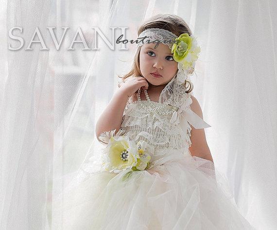 زفاف - FLOWER GIRL DRESS,  set 4 pcs ,flower girl headband, sash, petti lace romper and tutu skirt,flower girl outfit, lace dress flower girl