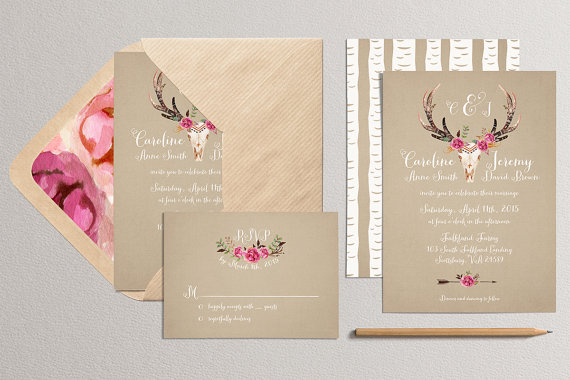 Printable Wedding Invitation And Rsvp Card Antler Wedding