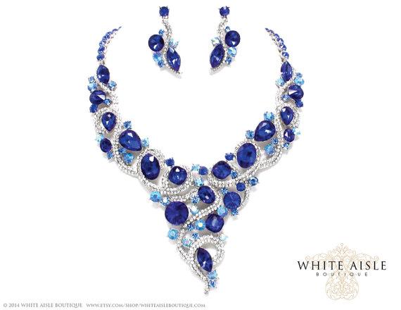 Blue Bridal Jewelry Set Back Drop Necklace Vintage Style Bridal