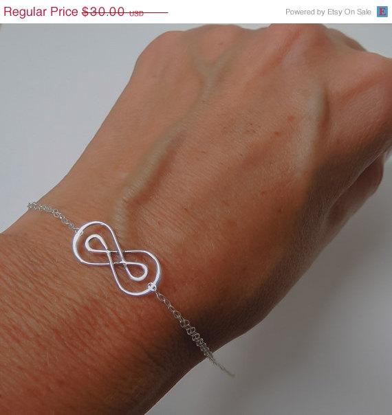 Свадьба - WEEKEND SALE Infinity Bracelet, Figure Eight Bracelet, Double Infinity Charm, Gift Jewelry for Her, Bridal Infinity Jewelry,Bridesmaids Brac