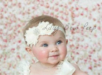 Ivory Baby Headband-Baby Girl Baptism Headband-Preemie-Newborn-Infant-Child-Toddler-Adult-Wedding-Photography  Prop- Fancy Vintage-Baby bows 1b723f55da9