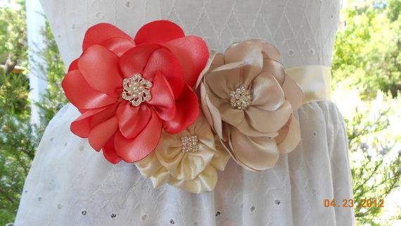 Wedding Dress Belt. Bridal Sash, Wedding Flower Ribbon Sash Belt In ...