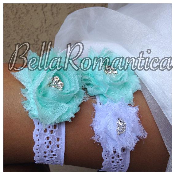Wedding - White Eyelet Lace Garter - Tiffany Blue Wedding - Sea Foam Wedding Garter Set - Bridal Garter