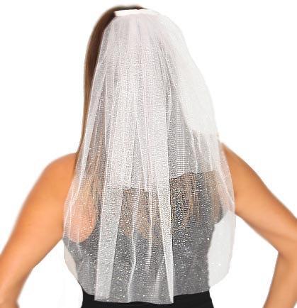 Mariage - Sparkle Tulle Veil - Double Layer : Bachelorette Party Veil, White Bachelorette Veil