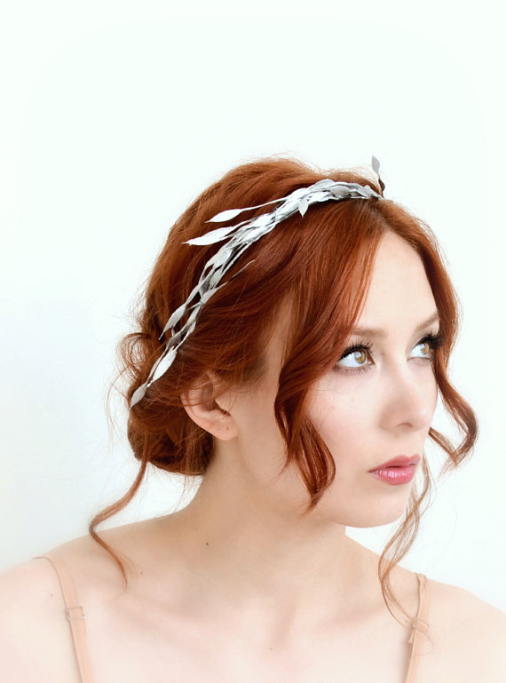 Mariage - Leaf crown, silver branch crown, bridal head piece, hair accessory, wedding accessories