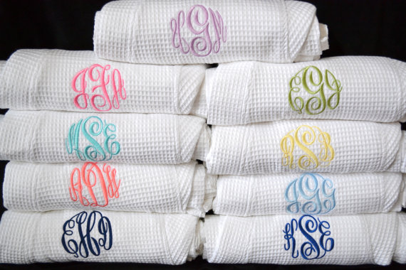 Wedding - Personalized Bridesmaids Gifts Monogrammed Waffle Robe Kimono Spa Robe Personalized Embroidered Bridesmaids Gift