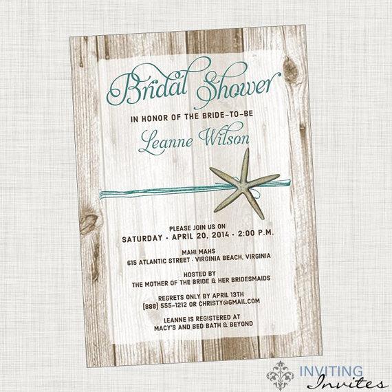 Mariage - Bridal Shower Invitation Starfish Beach Printable, Digital File