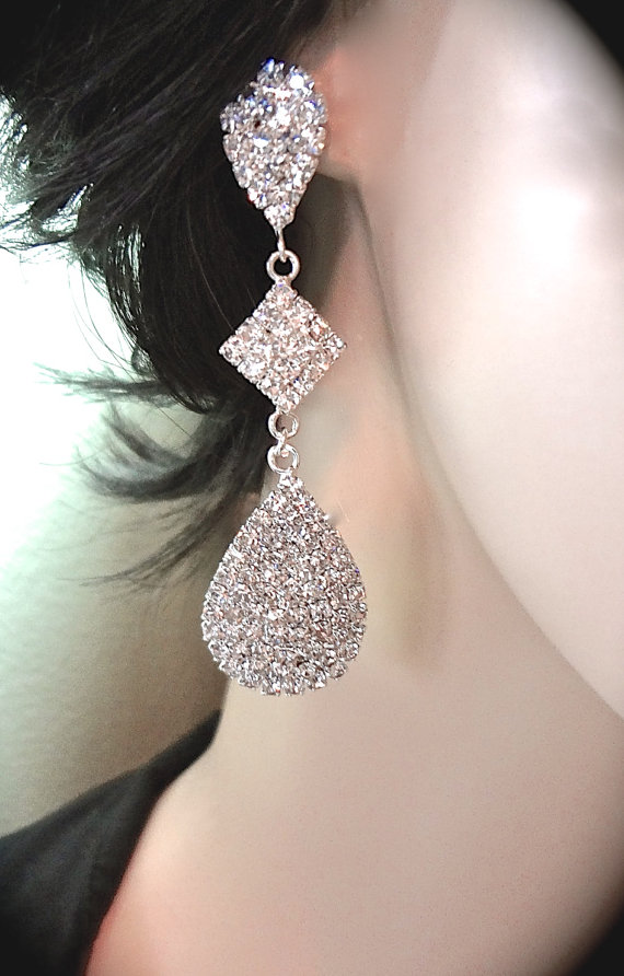 Mariage - Long crystal rhinestone earrings ~ Large Teardrops ~ Statement earrings ~ Bridal jewelry ~ Prom ~ Bridesmaids ~ Bling ~