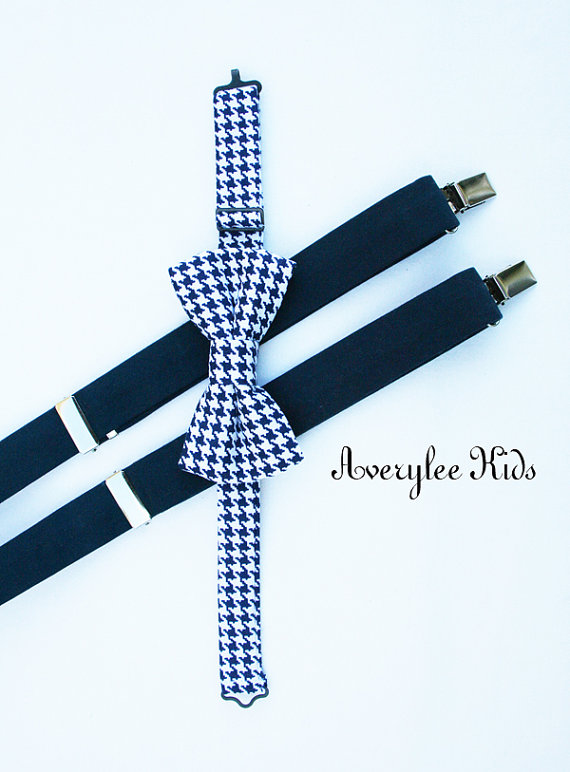 Mariage - Boys Navy Blue Suspenders and Navy Blue Houndstooth Bow Tie Set,  Toddler Bow tie, Infant Bowtie, Ring Bearer Outfit