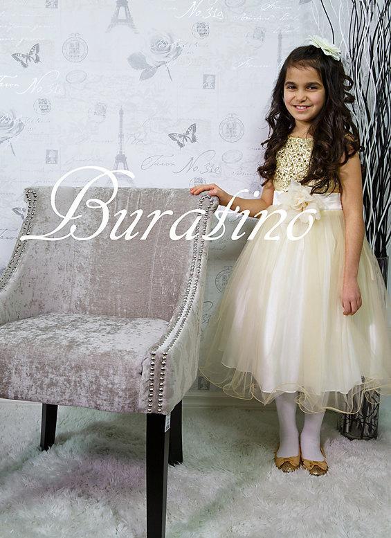 Mariage - Flower Girl dress, Gold sequin dress, Christmas Special Occasion Girls dresses, Easter wedding toddler girls dress