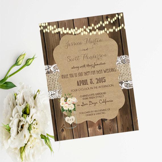 Mariage - Mason Jar and Flower Wedding Invitation, Rustic Wedding Invitation