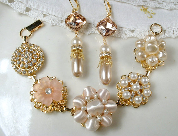 Mariage - RESERVED Custom Blush Pink, Champagne, Ivory Pearl, & Rhinestone Gold Bridal OOAK Bracelet and Earrings Set, Cluster Earring Wedding Jewelry