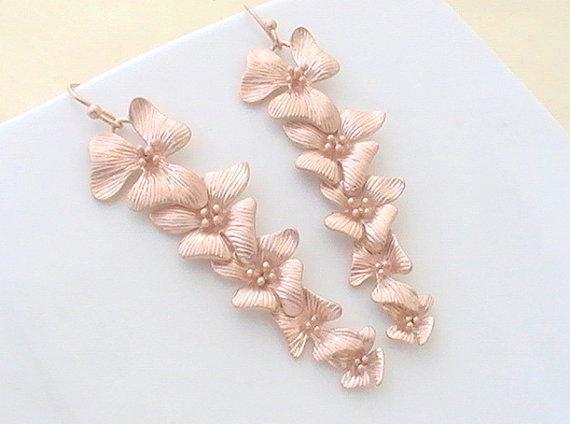 Rose Gold Flower Earrings Long Dangle Bridesmaid Gift Wedding Jewelry Bridal