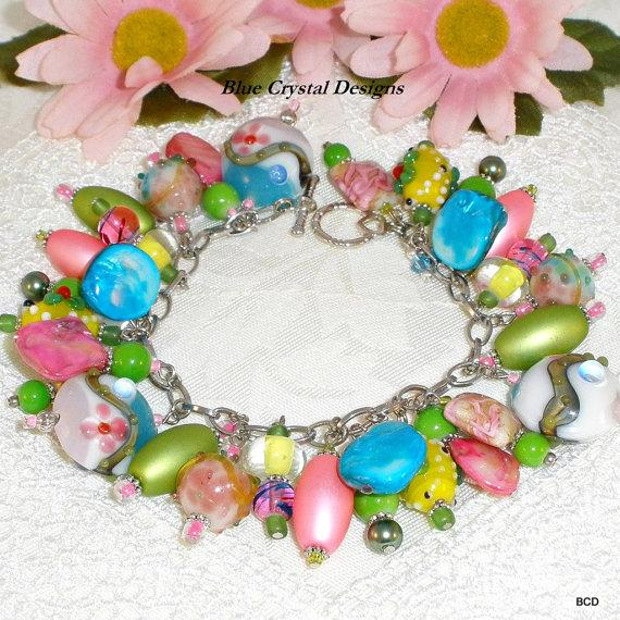 "Mariage - Easter Charm Bracelet ""Spring Bouquet"", Spring and Summer Bracelet, Bright-Colored Charm Bracelet, Angel Charms"