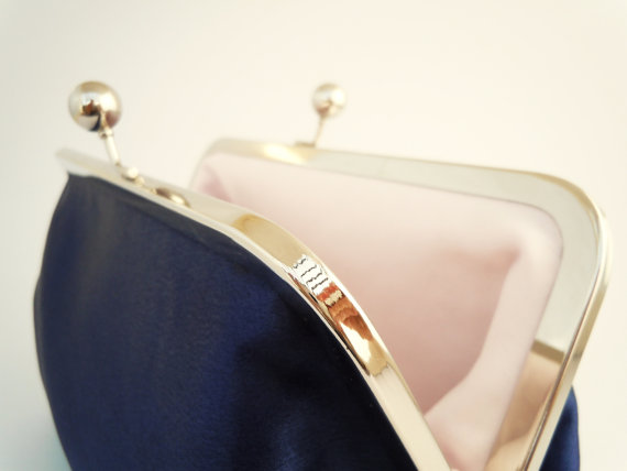 Mariage - Classic Navy Blue Clutch, Blush PInk, Wedding Purse, Bridesmaids Gifts, Personalized Gift, Silver Kiss Lock Frame