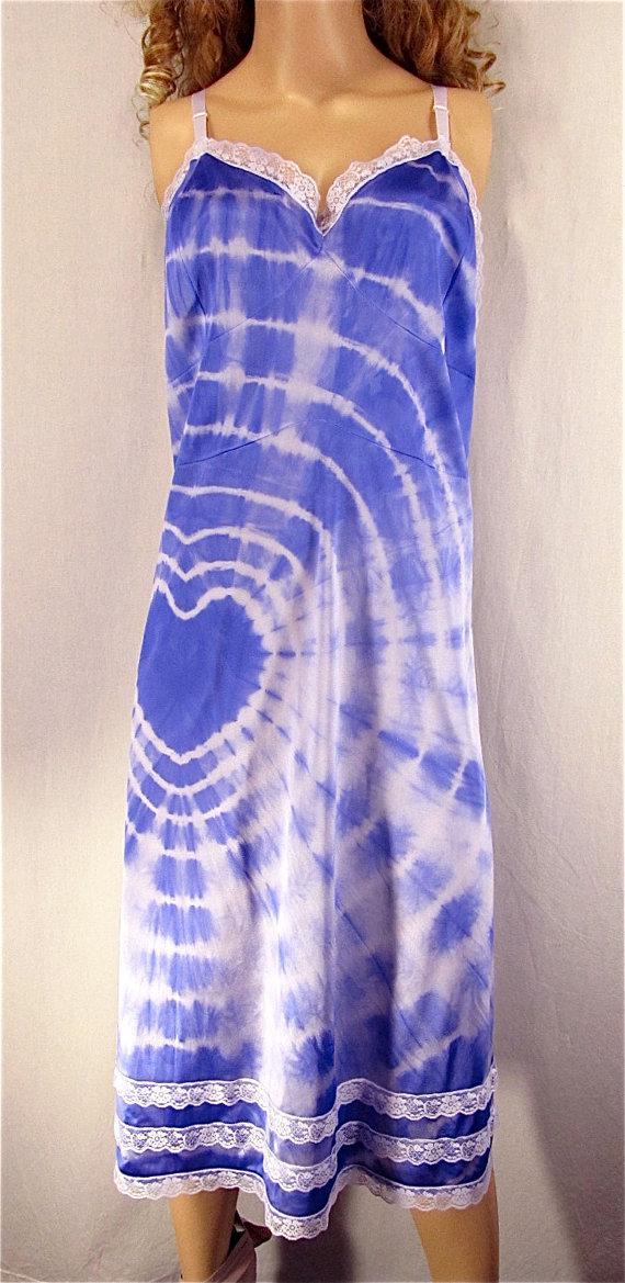 Свадьба - Tie Dye Slip Dress 52 Plus Size Lingerie Upcycled Nightgown Hand Dyed Lingerie Festival Bridal Boho Hippie Sundress Purple Heart Valentine's