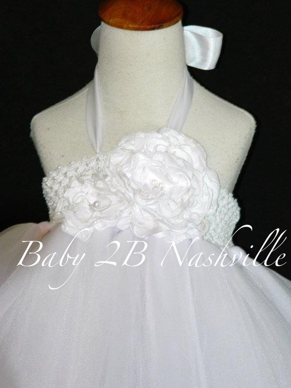 Hochzeit - White Flower Girl Dress Wedding Flower Girl Tutu Dress Communion Dress All Sizes Girls