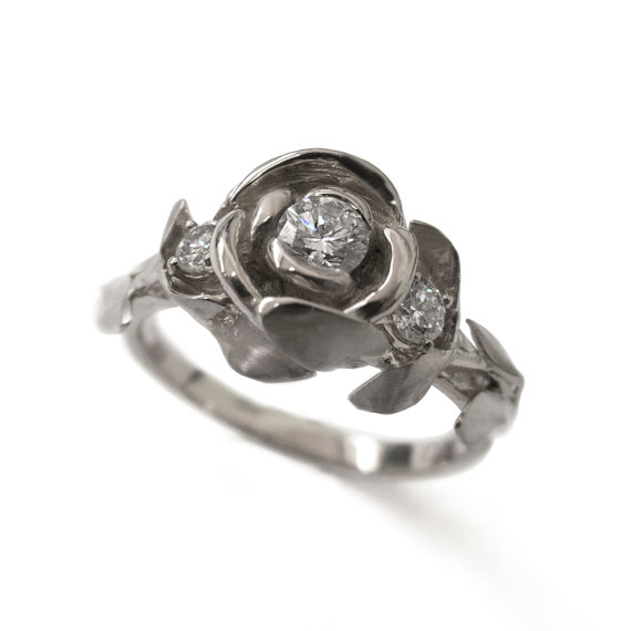 Mariage - Rose Engagement Ring - 18K White Gold and Diamonds engagement ring, engagement ring, leaf ring, flower ring, 3 Stone Ring, Three stone ring
