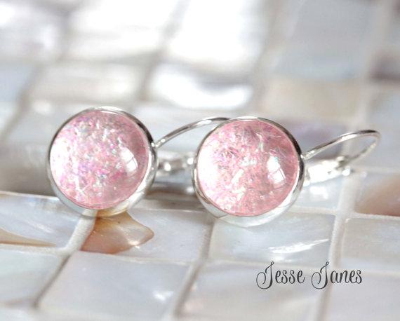 زفاف - Glitter Earrings, Pink Sparkles Confetti Glitter Sparkly Earrings, Lever back earrings, Wedding jewelry, Bridal Party jewelry