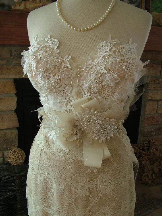 Wedding - Wedding Bustier custom dress with any style skirt Marilyn Monroe 1950s vintage inspired lace dress