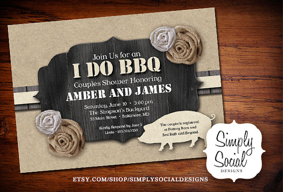 I Do Bbq Invitation Burlap And Kraft Paper Barn Wood Pig Roast S Shower Printable