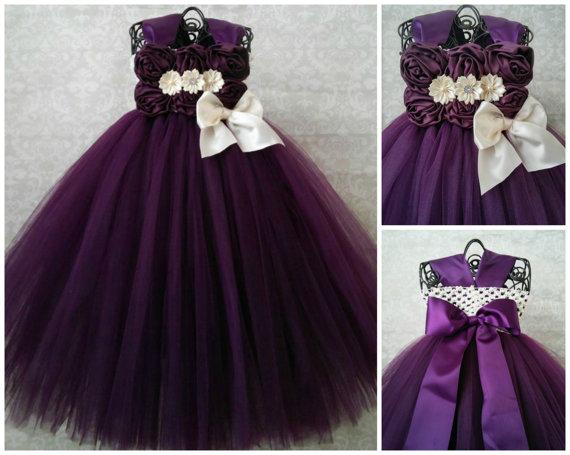 486ff70e79c Plum And Ivory Flower Girl Dress