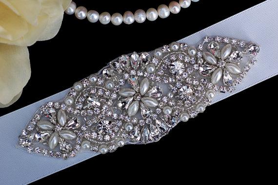 Mariage - Bridal Belt Sash , Wedding Belt Sash , Prom Belt Sash , Wedding Sash , Bridal Belt , Bridal Sash , Crystal Beaded Applique