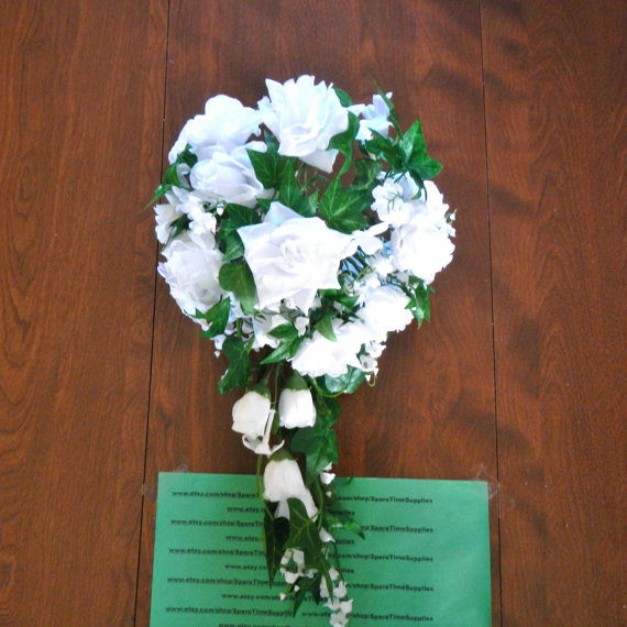 """Wedding - J401 Wedding Bouquet with Greenery - white with green - approx. 16"""" x 9"""" - 1 pkg"""