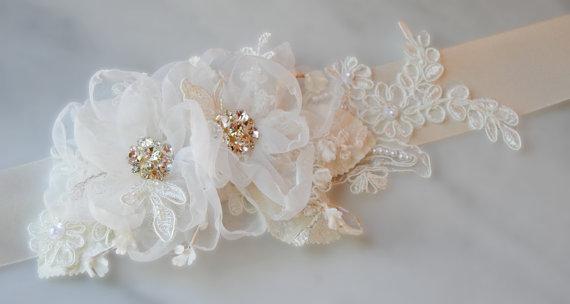 Ivory Bridal Sash Beaded Flower Wedding Belt Crystal And Pearl