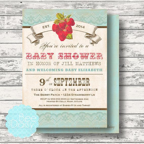 Vintage strawberry baby shower invitation princess baby shower vintage strawberry baby shower invitation princess baby shower invitation girls baby shower invitation filmwisefo