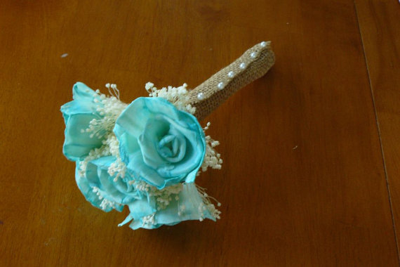 Mariage - Wedding, Sola wood Bouquet, Teal Aqua Wood Bouquet, Bridal Bouquet, Sola flowers, Bouquet, Handmade