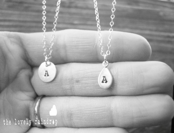 """Mariage - SALE Pick One - Customized Sterling Silver Single 3/8"""" Disc or Raindrop Necklace - Personalized Sterling Silver - Wedding Jewelry - Simple"""