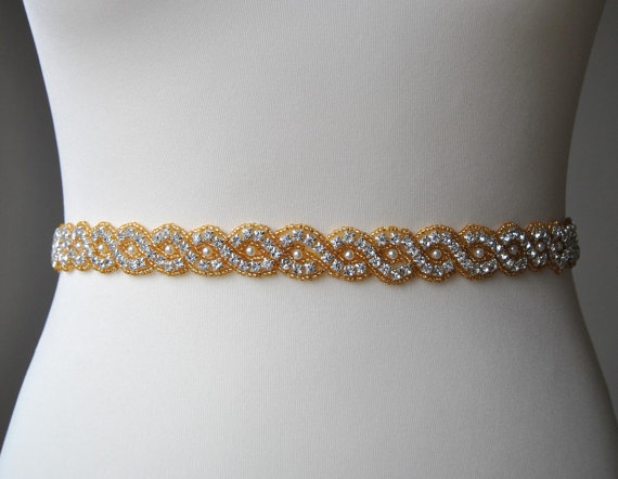 Gold Pearls Wedding Dress Bridal SashWedding Sash Belt Rhinestone Bridesmaid