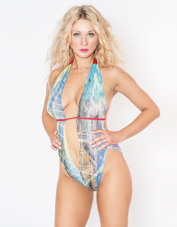 Hochzeit - Aqua Breeze Mesh Body Suit Teddy Lingerie by FAFLingerie