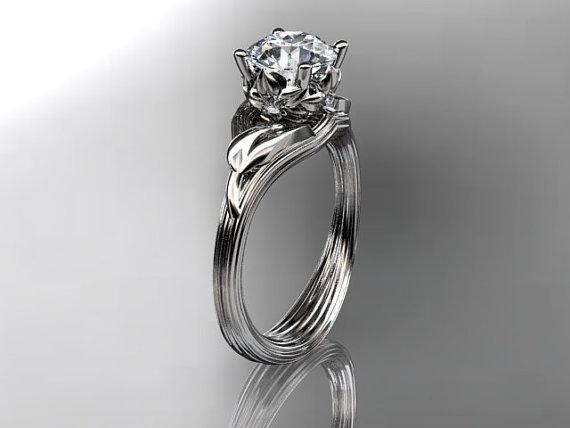Mariage - 14kt  white gold diamond flower, leaf and vine  wedding ring,engagement ring ADLR240