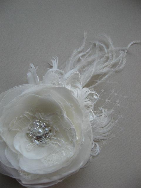 Свадьба - Wedding Hair accessories Bridal hair piece Wedding Hair flower feather fascinator Bridal headpiece Wedding hairpiece Ivory lace headpieces