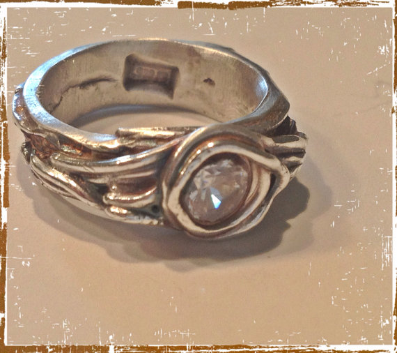 زفاف - Engagement ring tree bark band SYLVAN  Fine Silver Artisan