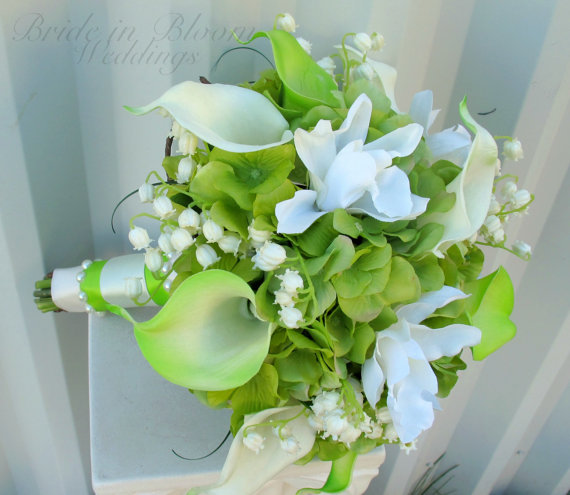 Lily Of The Valley Wedding Flowers: Lime Green Wedding Bouquet Calla Lily Orchid Lily Of The