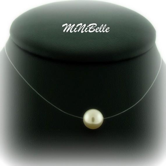 Mariage - Floating Pearl - Illusion Bridal Necklace - Single Cream Pearl Illusion Necklace - Wedding Jewelry - Floating Pearl Necklace