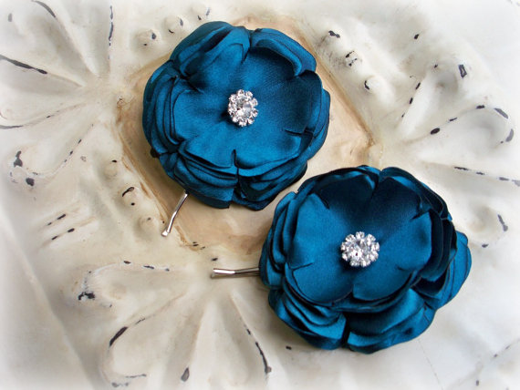 Hochzeit - Teal Satin Rhinestone Flower Set - Hairpins or Shoe Clips - Bridal Bridesmaids Gifts Turquoise Aqua - Something Blue Wedding - Many Colors