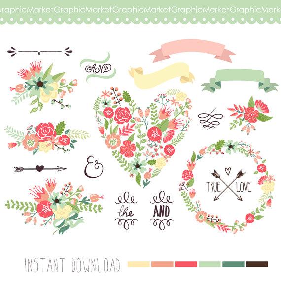 زفاف - Wedding Floral clipart, Digital Wreath, Floral Frames, Flowers, Arrows Clip art scrapbooking, wedding invitations, Ribbons, Banners, Heart