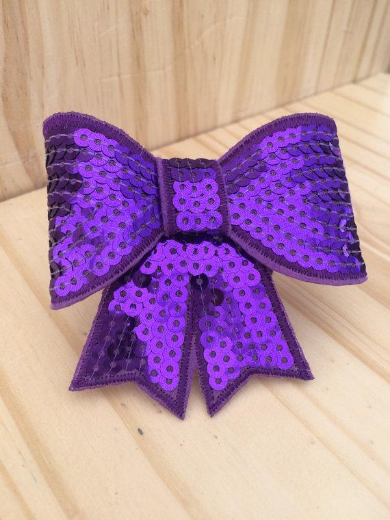 Свадьба - Glitter Dog Bow - Purple Glitter Collar Bow - Sequin Purple Dog Bow- Dog Collar Bow - GFPUR