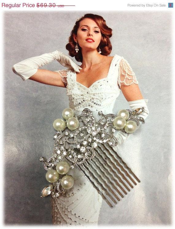 Mariage - Wedding hair accessory, Bridal hair comb, bridal hair accessory, Bridal crystal Rhinestone pearl Hair Comb