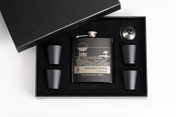 Свадьба - 4, Personalized Groomsmen Flask Sets, Personalized Groomsmen Gift, Beach Wedding, Engraved Flask Sets, 4 Flask Sets