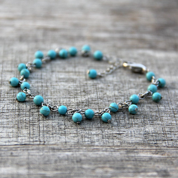 Свадьба - Turquoise charm bracelet Bridesmaids gifts Free US Shipping handmade Anni Designs