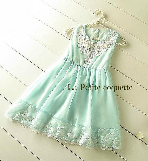 Свадьба - Girl Chiffon Lace Flower Girl Dress, Easter Girl Dress, Girl Lace Chiffon Dress, Wedding Girl Dress