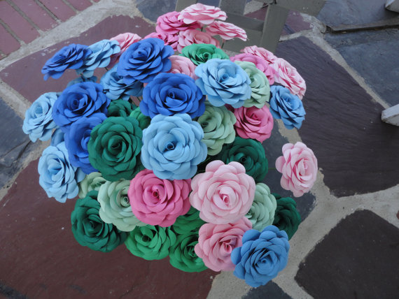 Mariage - Red Roses Wedding - 48 Paper Roses   Paper  Flowers Valentine's Day Anniversary