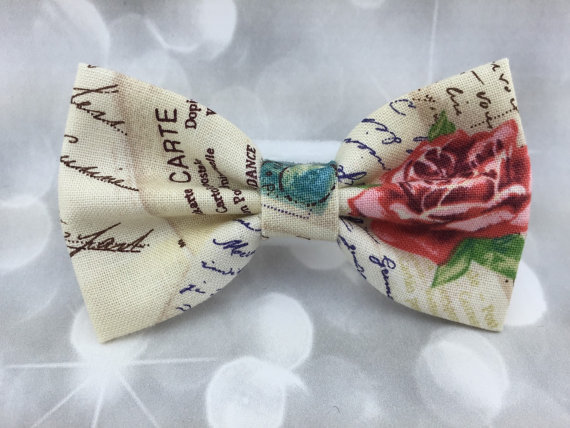 Свадьба - Vintage Love Letter Small Pet Dog Cat Bow / Bow Tie