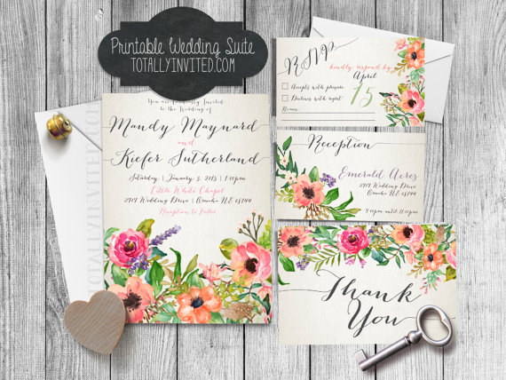 Wedding Printable Wedding Invitation Suite Watercolor Flowers