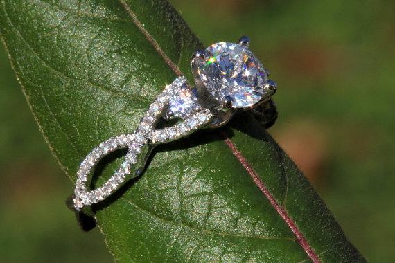 Свадьба - Diamond Engagement Ring SETTING semi mount- Round - Pave - Antique Style - 14K white gold - Weddings- Luxury- Brides - BeautifuPetra - Bp002